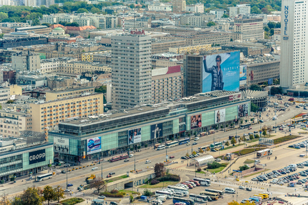 Warsaw  Poland - 09.15.2015: Aerial view on the main street in downtown with commercial buildings located by.