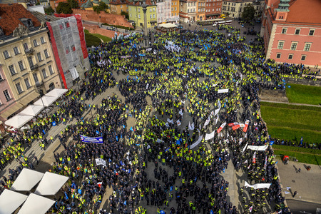 Warsaw / Poland - October.02.2018: View from the top on the protesting police officers gathered in the old town.