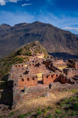 Inca archeological ruins of Pisac in the Sacred Valley near the Cusco city in Peru. Tourist destination.