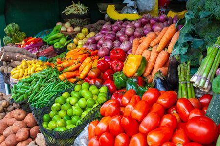 Colorful display of the variety fruits and vegetables on the market stand in Lima, Peru. Stock fotó