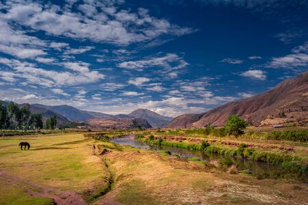View on the Urubamba river near by the Cusco  Cuzco city in Peru in teh Sacred Valley. One of the largest rivers in this country. Stock fotó