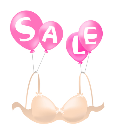 Balloons carrying bra, announcing sale