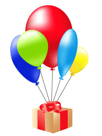 Birthday gift floating on colorful balloons Vector