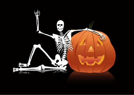 Halloween skeleton sitting near pumpkin head Illustration