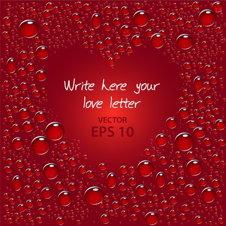 water liquid letter: Wet place for your love letters, vector illustration no mesh
