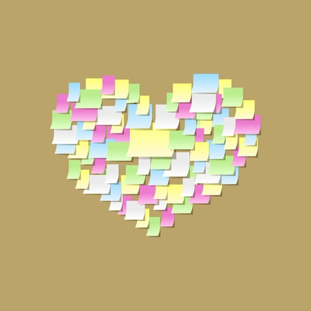 Sticky notes heart shape, office confession on a valentine