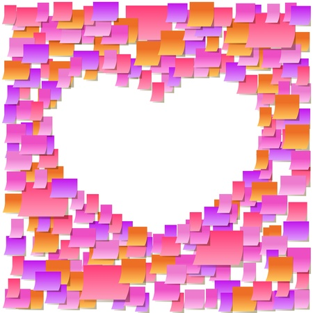Sticky notes heart frame, office confession on a valentine Stock Vector - 12014537