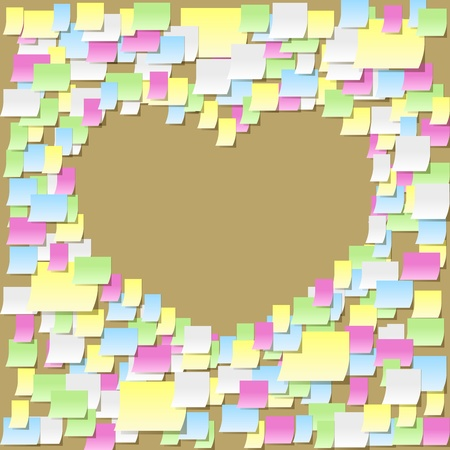 Sticky notes heart frame, office confession on a valentines day