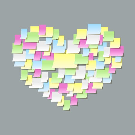 Sticky notes heart shape, office confession on a valentines day