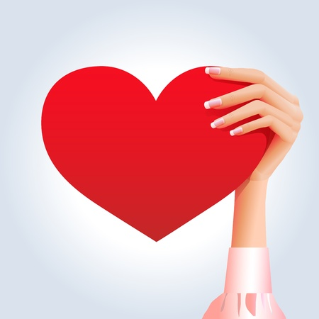 Red heart in a girls hand Vector