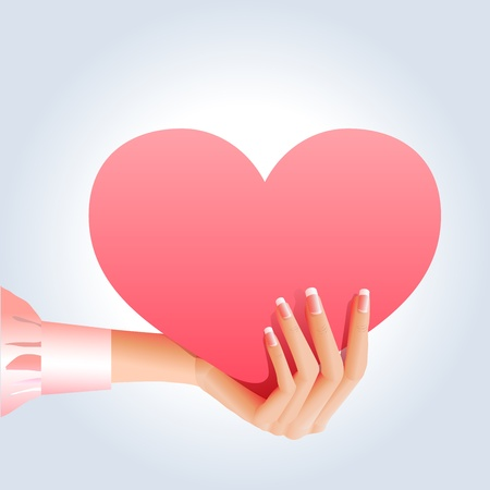 Pink heart in a girls hand Vector