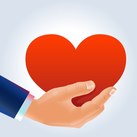 Male hand and heart proposal Illustration