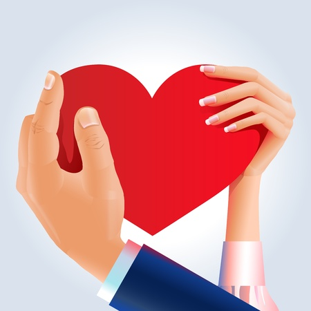 Couple hands hold shared heart Vector
