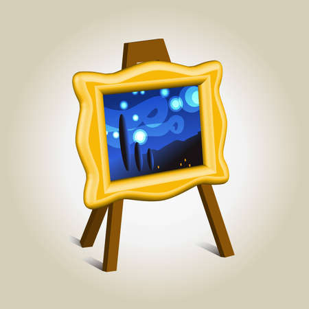 Art piece in golden frame icon, symbol of imaging Vector
