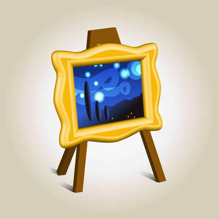 Kunst stuk in gouden frame icoon, symbool van de beeldvorming Vector Illustratie