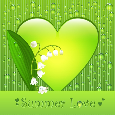 Summer love  greeting postcard with lily of the valley flower and fresh water drops Vector