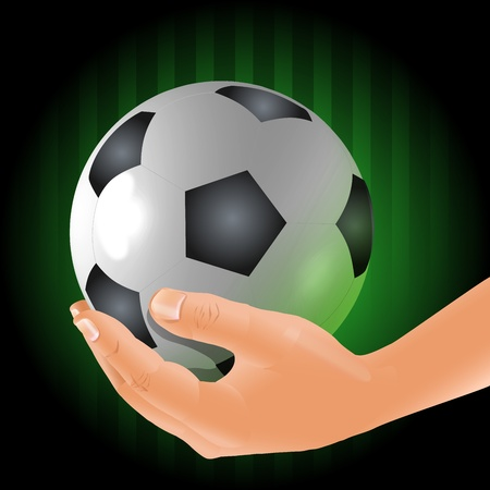 Soccer player holds the ball in a hand Illustration