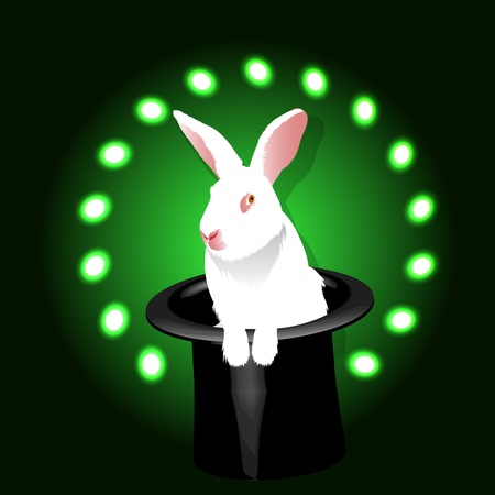 Magic white rabbit in a hat of magician