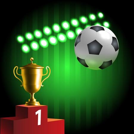 Símbolos del fútbol brillante composición del campeonato Ilustración de vector