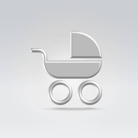 Pram carry cot icon concept shot backlit made of metal Stock Photo - 13758168