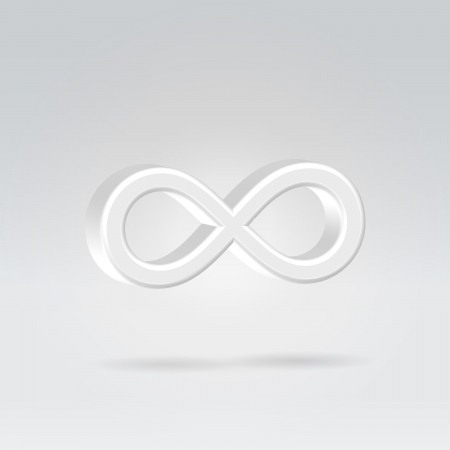 Glowing white silver bright infinity symbol 3d closeup backlit hanging in space photo
