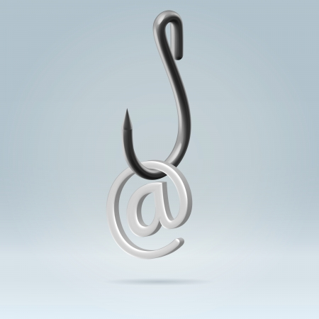 Silver email symbol hanging on a stainless steel hook closeup 3d render