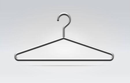 Realistic metal hanger icon for fashion clothes hanging in space on a neutral background