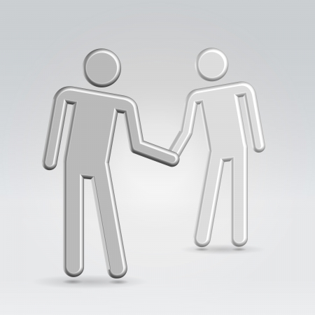 Shaking hand business concept abstract stickmen realistic high detailed 3d render Stock Photo - 13758166