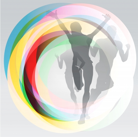 team victory: Three translucent runners silhouettes over rainbow rings background Illustration
