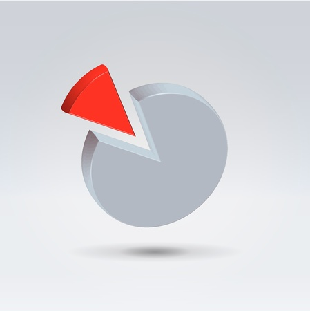 Abstract red control amount and gray rest pie chart  hanging in the air closeup shot Illustration