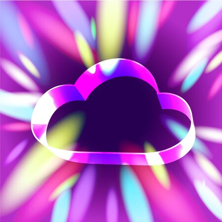 Glowing ribbon stylish cloud symbol over violet tunnel with light sparks Stock Vector - 16493771
