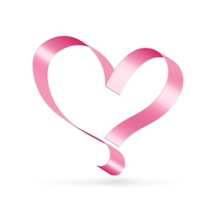 Silk glossy ribbon pink heart over white Illustration
