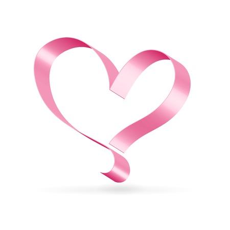pink ribbon: Silk glossy ribbon pink heart over white Illustration