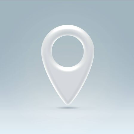 geolocation: Glossy white plastic map navigation point hanging in light blue space
