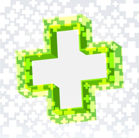 double cross: Green double cross crossy lighted background with empty space in the middle