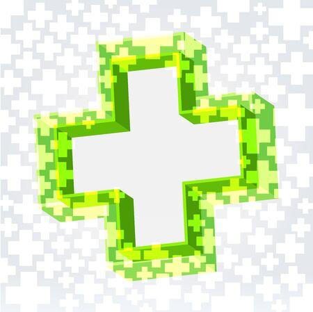 double cross: Verde doppia croce Crossy sfondo illuminato con lo spazio vuoto al centro