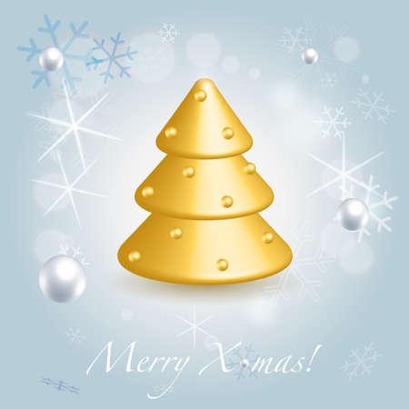 fur tree: D'oro pelliccia albero simbolo lucido su blu Natale di festa sfondo
