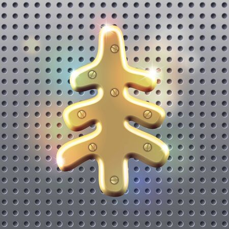 christmas fur tree: Golden silhouette of golden polished christmas  fur tree sign over dark metall perforated surface