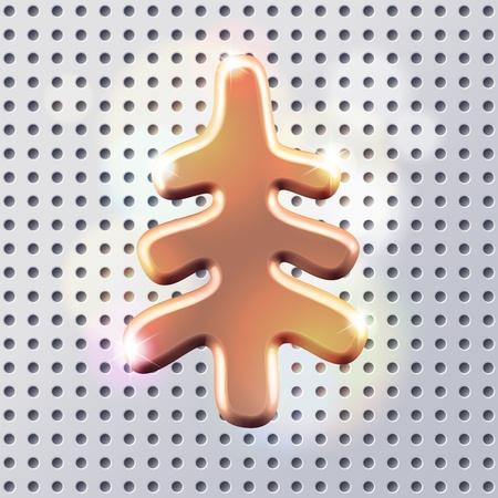 fur tree: D'oro silhouette di metallo bianco lucido pelliccia albero segno over luce metall superficie forata argento Vettoriali
