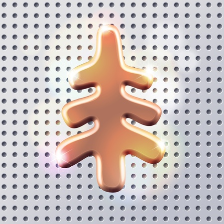 christmas fur tree: Golden silhouette of white metal polished christmas  fur tree sign over light silver metall perforated surface Illustration