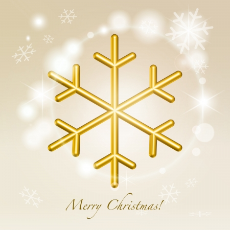 synopsis: Golden metallic jewellery snowflake symbol over glittering festive christmas warm champagne background