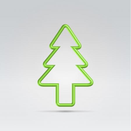 fur tree: Filo verde albero di pelliccia metallico appeso su sfondo chiaro Vettoriali