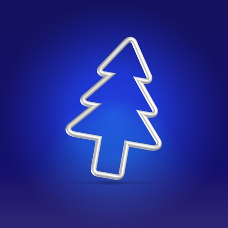 Christmas fur tree wire silver symbol falling over dark blue background