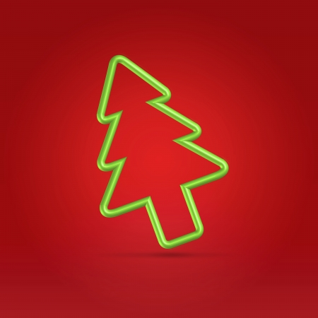 christmas fur tree: Christmas fur tree wire green symbol falling over red warm background