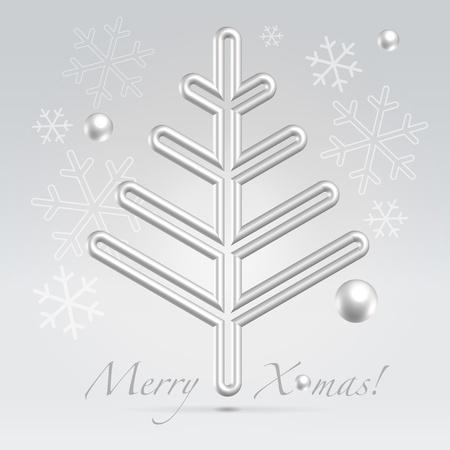 fur tree: Argento filo albero di pelliccia metallico che incombe su sfondo chiaro di festa Vettoriali