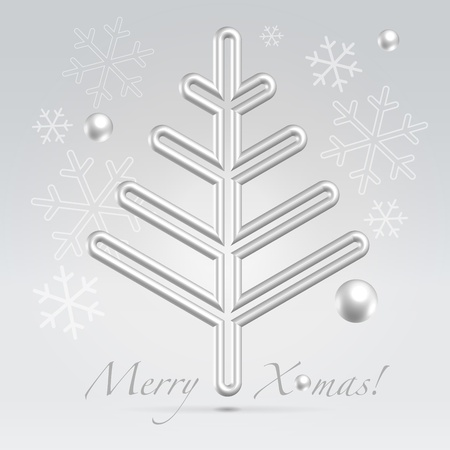 Silver wire metallic fur tree hanging over light festive background Vector