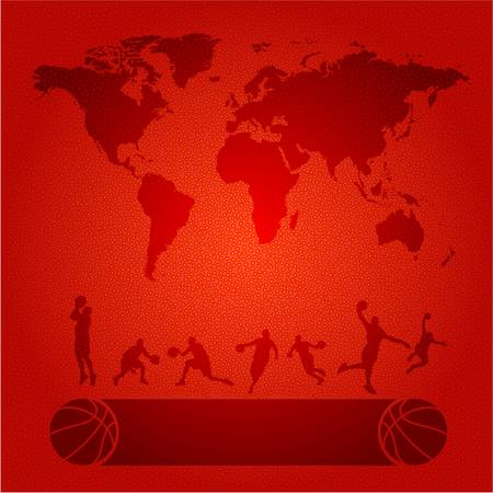 High detailed world map and basketball players silhouettes on a textured orange surface
