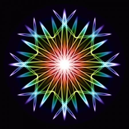 Abstract simmetrico modello arcobaleno naturale su nero