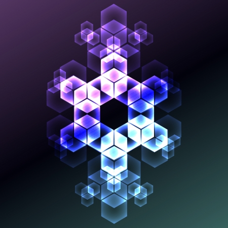 hexahedron: Cold hexahedron chrystal decorative symmetrical winter pattern