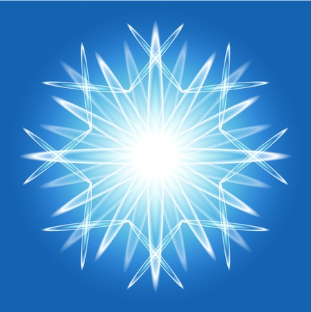 Abstract gradient snowflake flower over bright bleu background